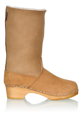 Beige Shearling Lined Clog Boot Tall Boots