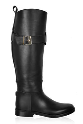 Black Diego Dolcini Rubber Knee Boot Tall Boots