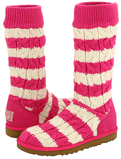 UGG pink CLASSIC TALL STRIPE CABLE KNIT UGG Boots
