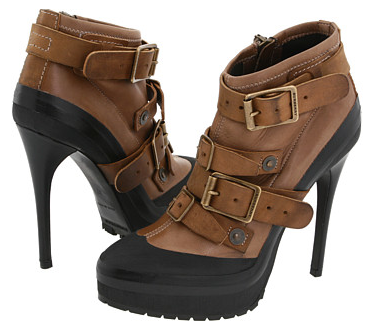 Burberry Leather and Suede Platform Ankle Boots Burberry Leather and Suede Platform Ankle Boots