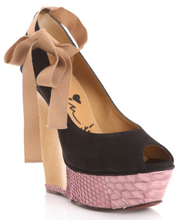 Lanvin suede and python wedges Lanvin suede and python wedges