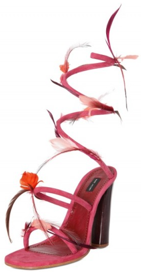Marc Jacobs Suede Feather Snake Ankle Sandals1 Marc Jacobs Suede Feather Snake Ankle Sandals