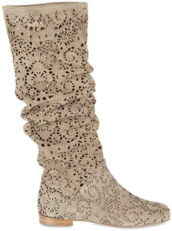 Peter Flowers Laser cut Velour Pull on Boots Peter Flowers Laser cut Velour Pull on Boots