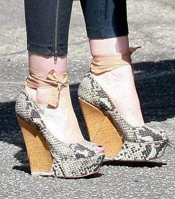 Lanvin Sandals Hillary Duff Lanvin Patent Wooden Wedges