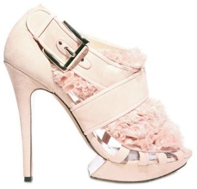 Nicholas Kirkwood Suede and Ruffle pink Chiffon Sandals Nicholas Kirkwood Suede and Ruffle Wedding Chiffon Sandals