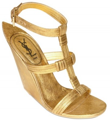Yves Saint Laurent gold Metallic Wedges Yves Saint Laurent Metallic Calfskin Wedges