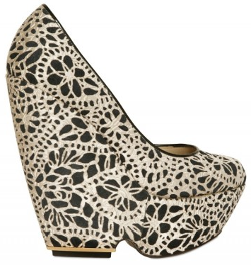 Nicholas Kirkwood Laser cut silk and suede wedges Nicholas Kirkwood Laser cut silk and suede wedges