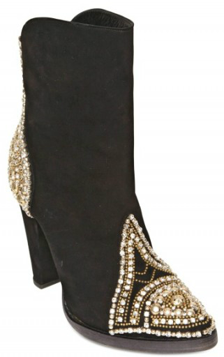 Balmain Suede Swarovski Stud Boots