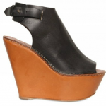 Chloe Leather Open Toe Wedges