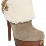 Fendi Suede and Shearling Low Boots
