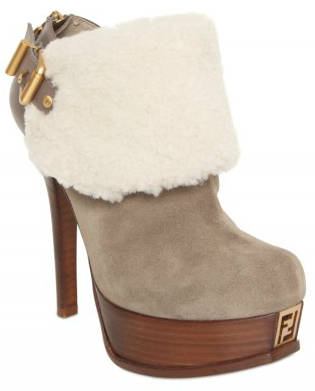 Fendi Suede and Shearling Low Boots Fendi Suede and Shearling Low Boots