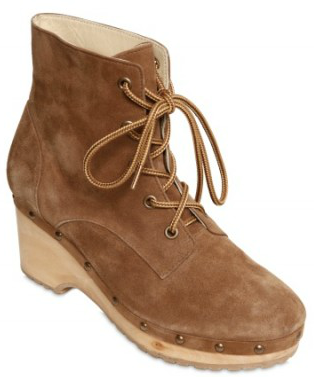 Opening Ceremony Suede Clog Lace up low Boots brown suede Cool Casual Suede Clog Lace up low Boots